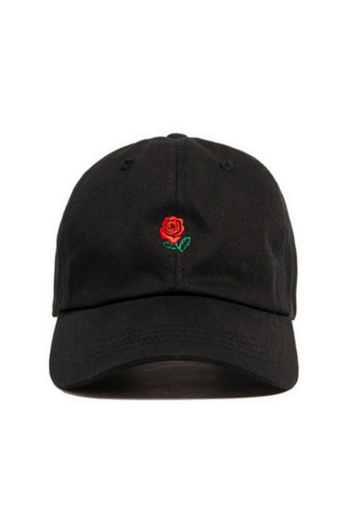 Rose Embroidered Hat In Black