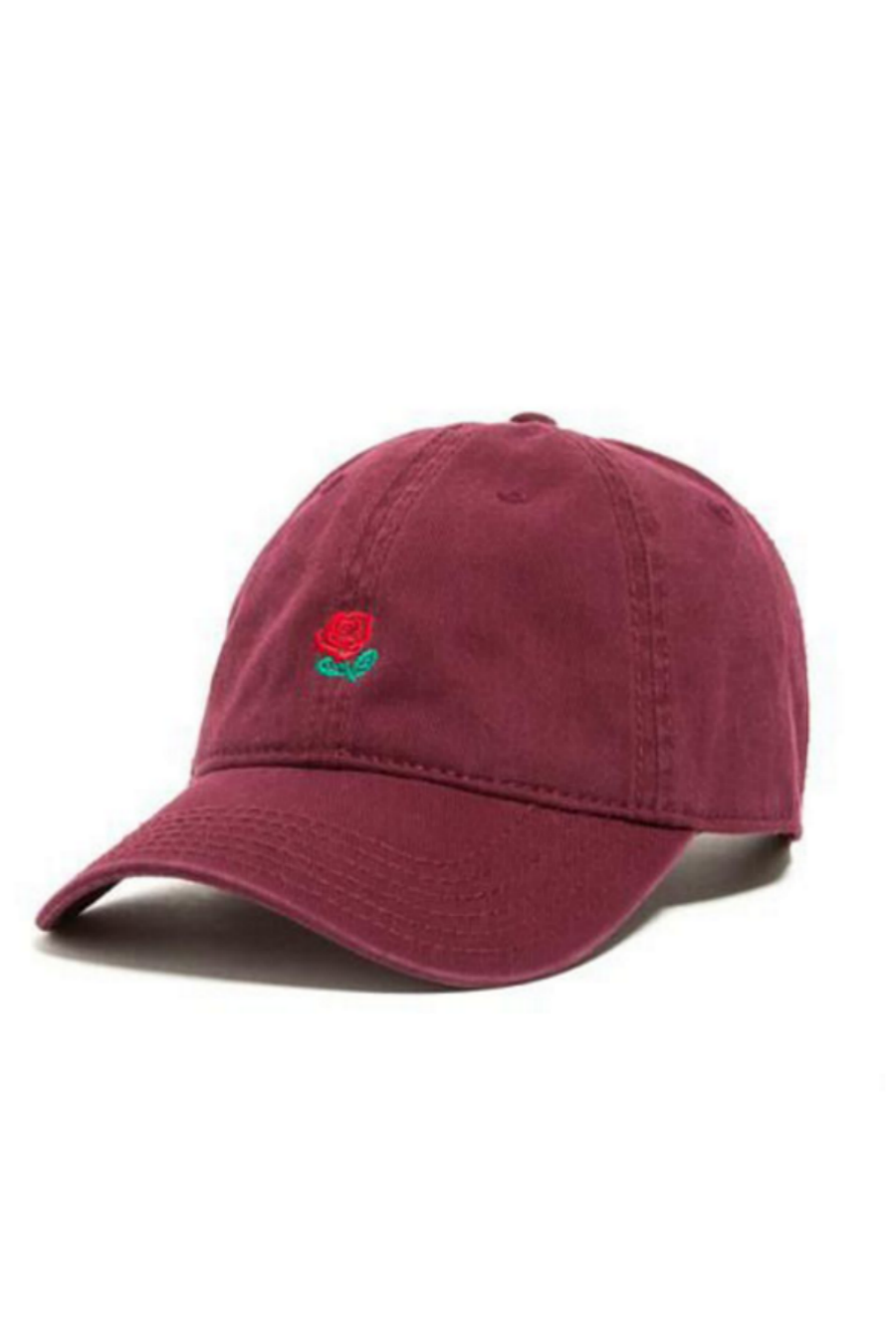 Rose Embroidered Burgundy Hat