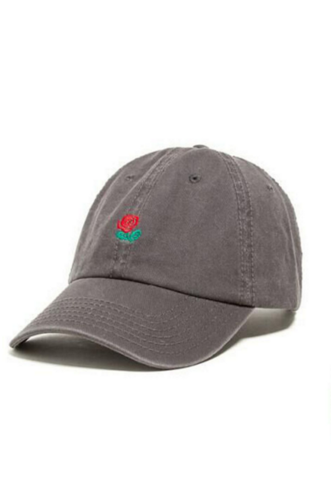 Rose Embroidered Hat In Gray