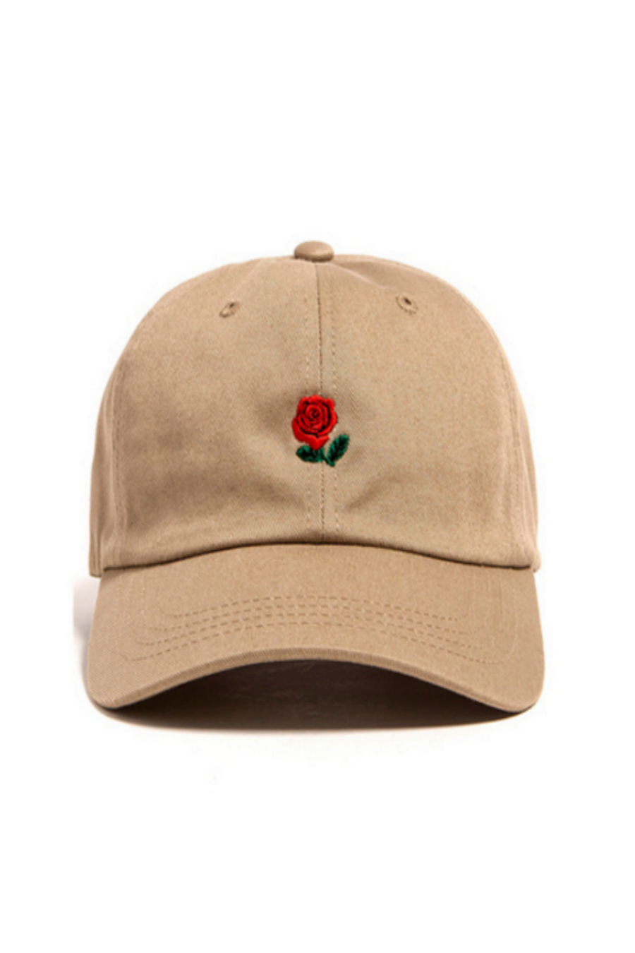 Rose Embroidered Hat In Tan