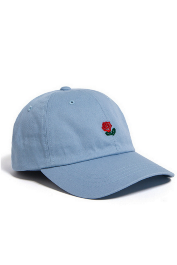 Rose Embroidered Hat In Blue
