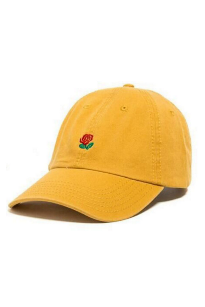 Rose Embroidered Hat In Yellow