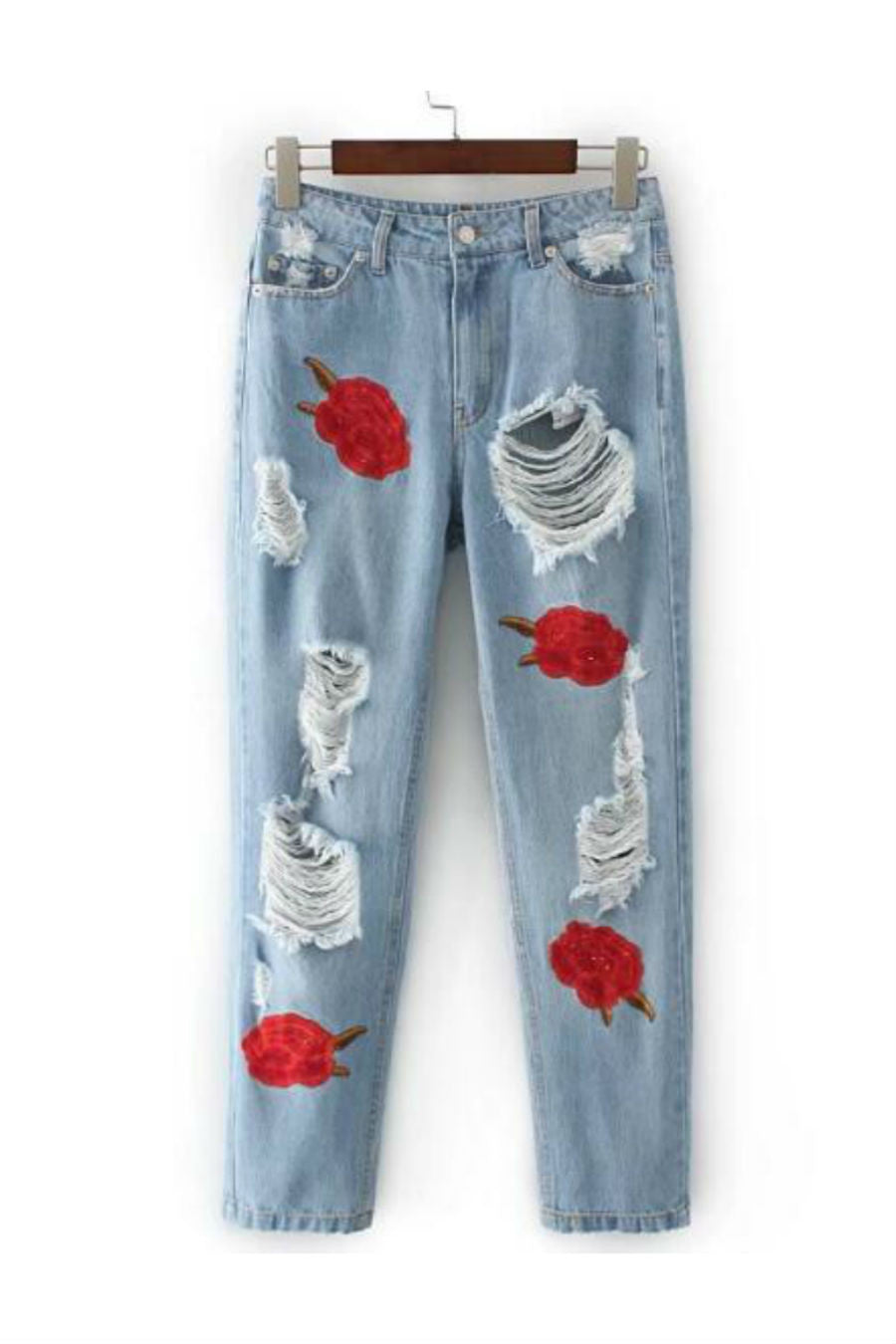 Floral Embroidery Ripped Jeans