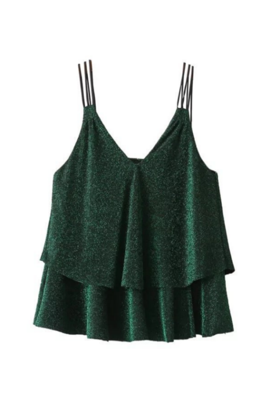 Green Ruffle Tank Top