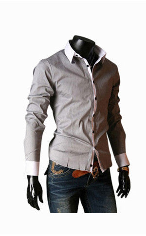 Modern Slim Fit Long Sleeve Shirt In Gray