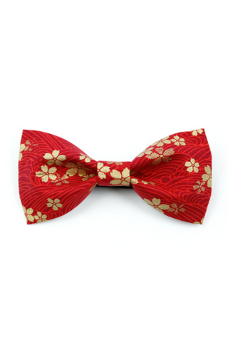 Sakura Printed Bow Tie In Red