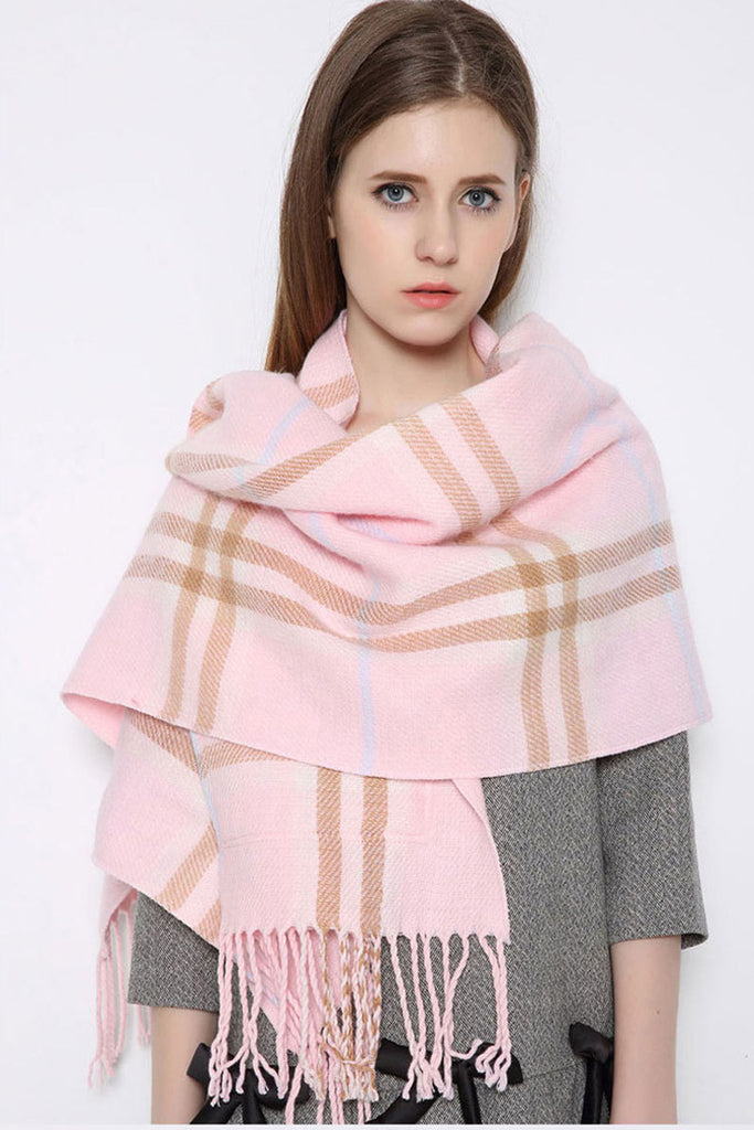 Vintage Pink Plaid Tassel Scarf With Pockets