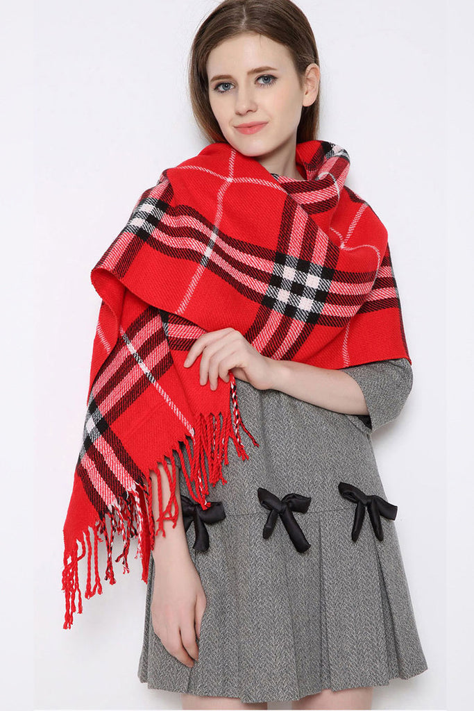 Red Plaid Tassel Scarf