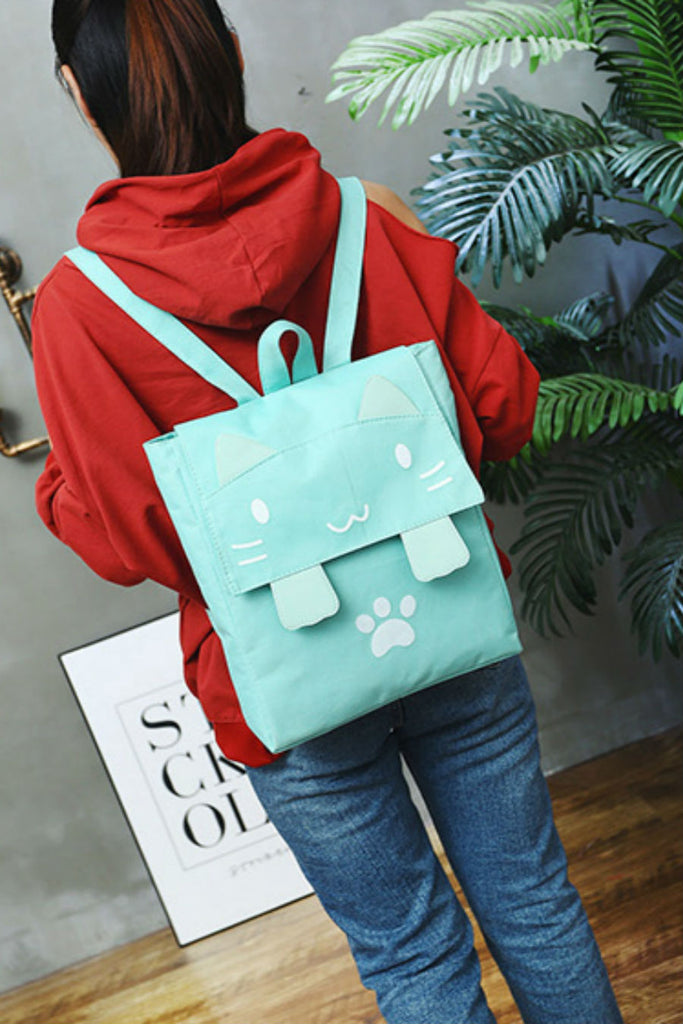 Cute Mint Cat Canvas Backpack