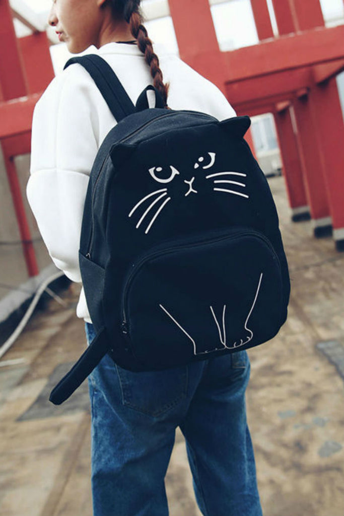 JK Cat Canvas Backpack Black