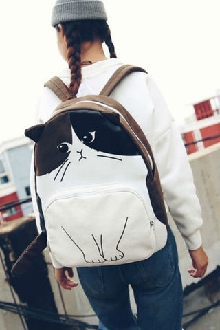 JK Cat Canvas Backpack Brown