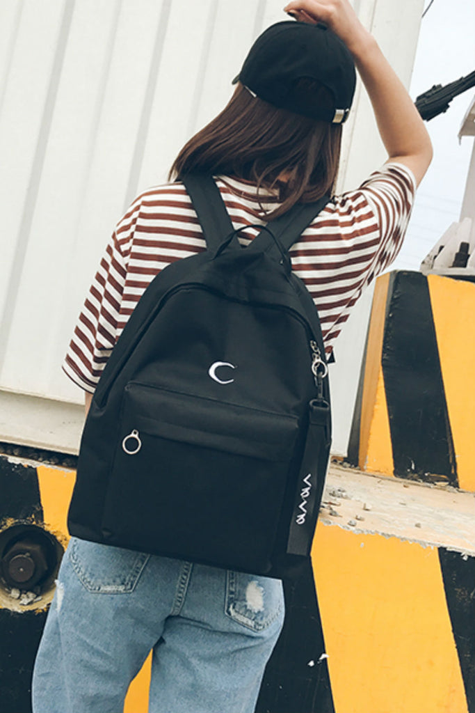 Moon Embroidery Black Backpack