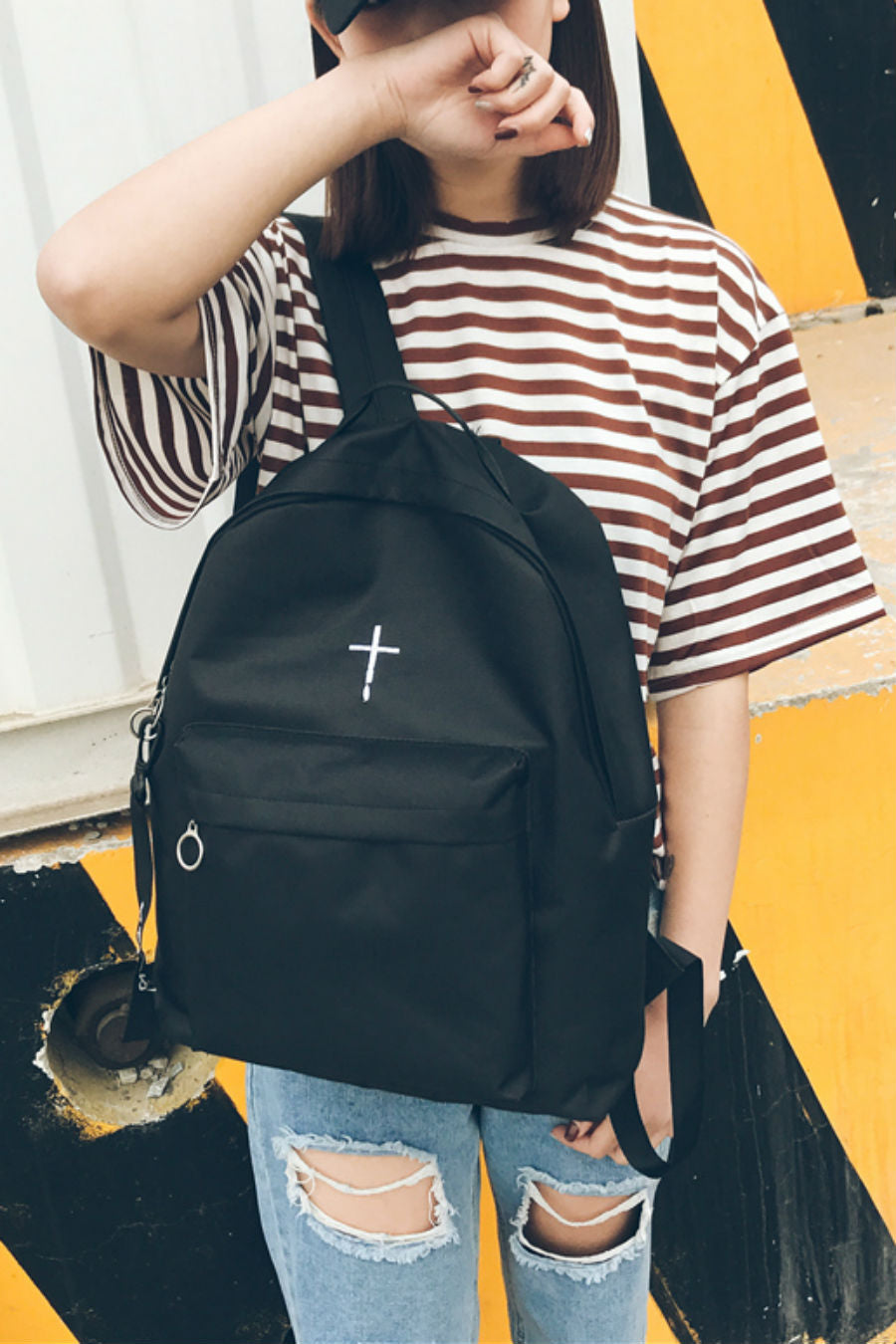 Cross Embroidery Black Backpack