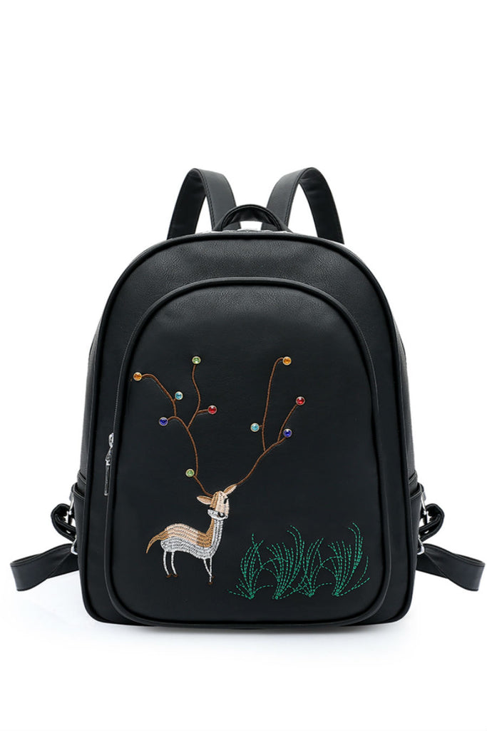 Cute Deer Black Backpack