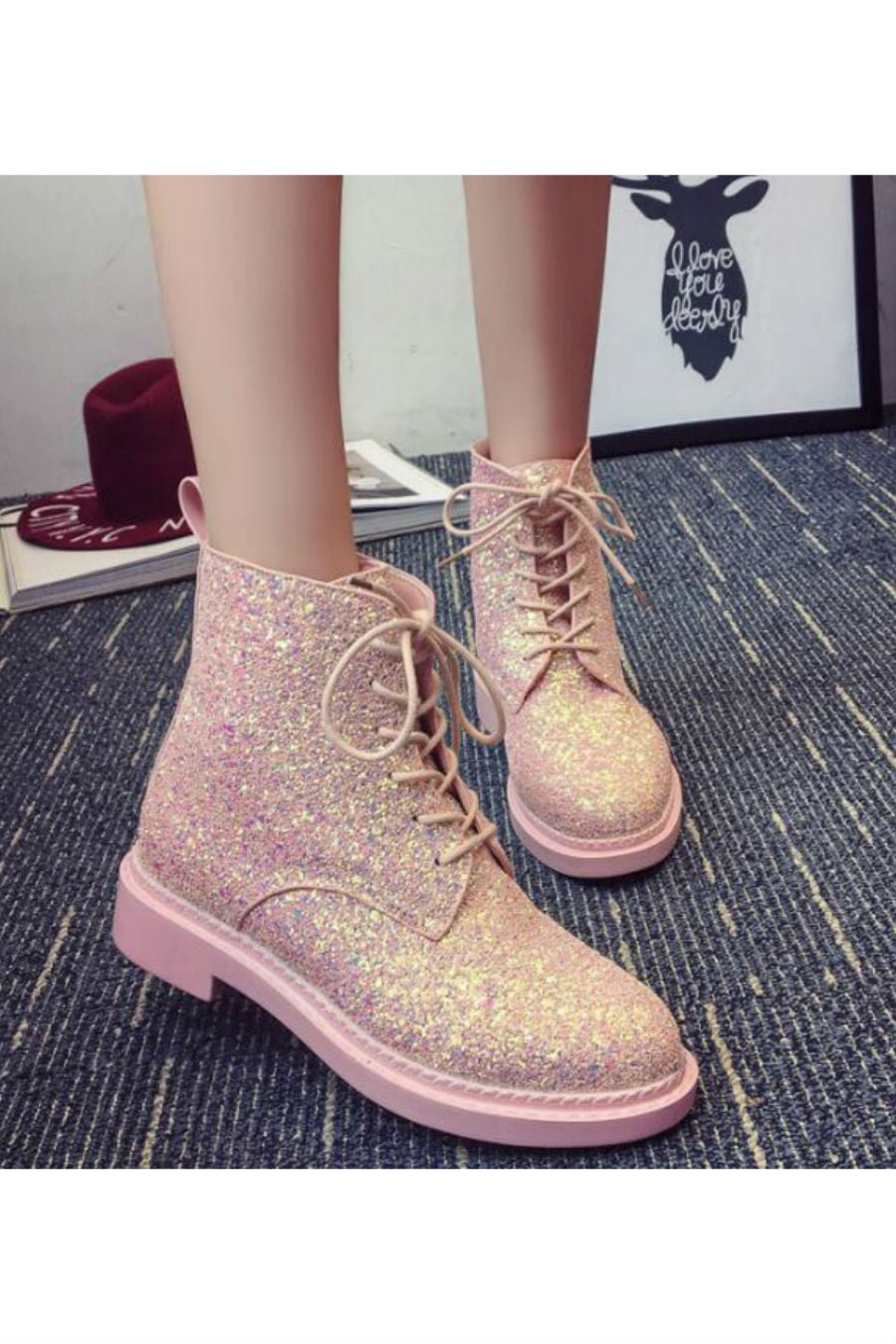Lace Up Sequins Boots 💥 In Pink