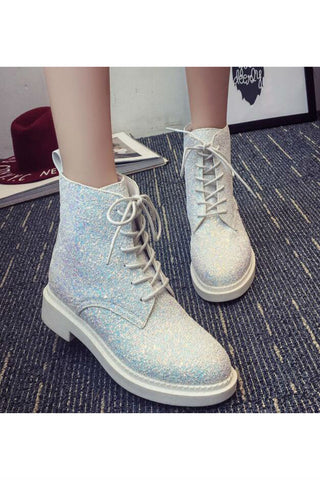Lace Up Sequins Boots In White