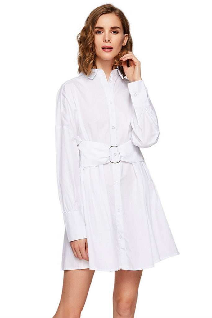 Elegant White Shirt Dress