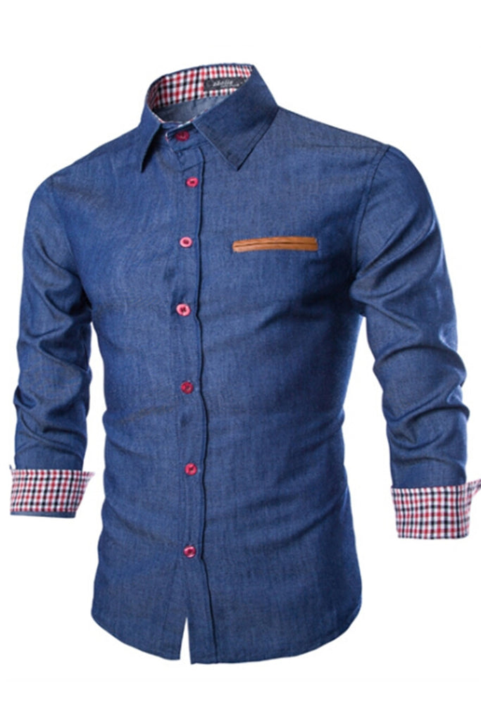Navy Long Sleeve Denim Shirt