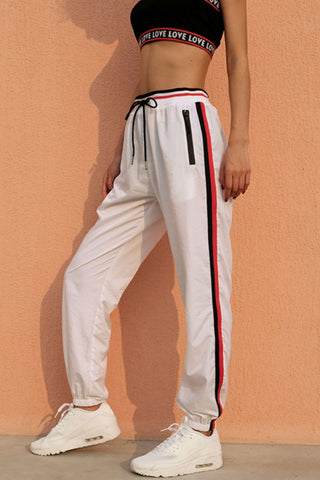 White Drawstring Stripe Joggers