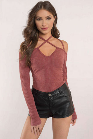 Back Open Halter Top Red