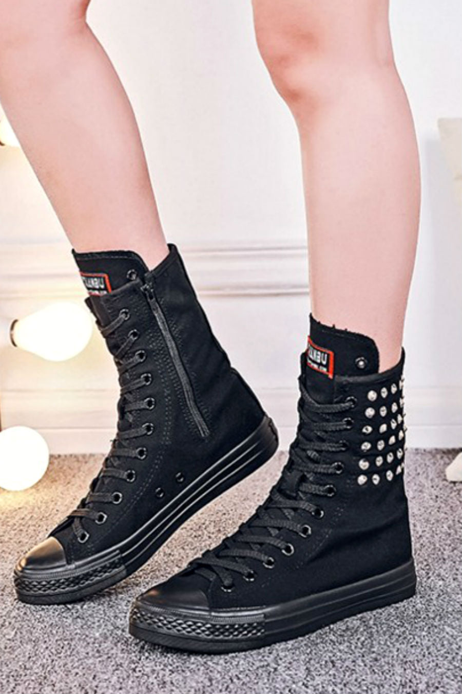Studded Black High Boots