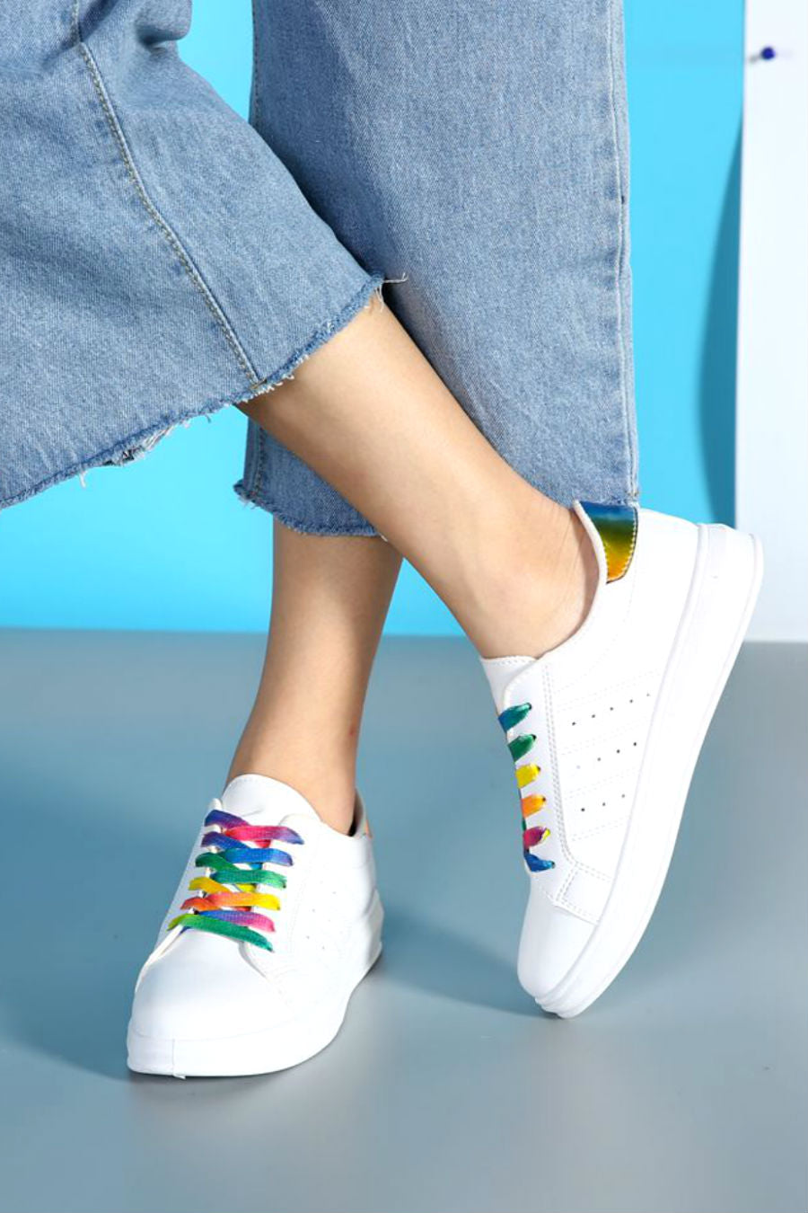 Rainbow Lace Up White Sneakers