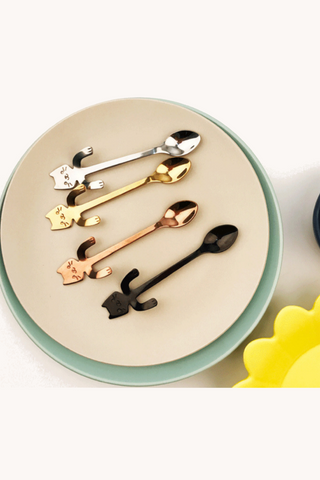 4 Pieces Cute Cat Stainless Steel Spoon