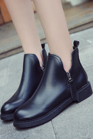 Black Side Zipper Ankle Boots