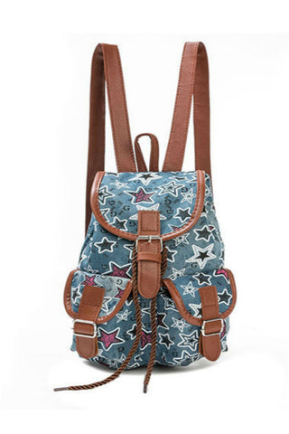 Vintage Starry Denim Backpack