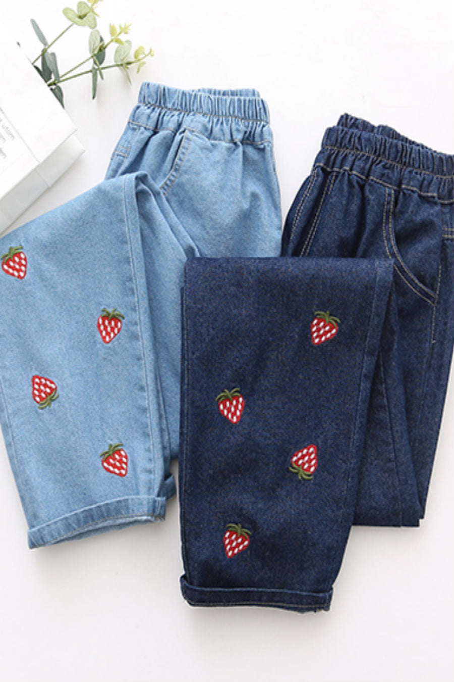 Strawberry Embroidered Jeans