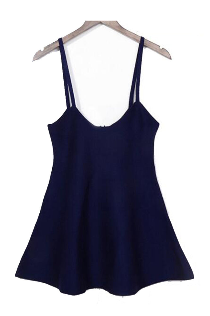 Cute Navy Knitted Strap Skirt
