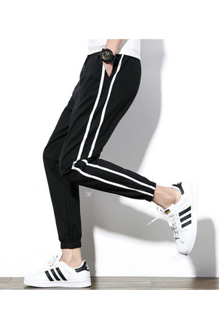 Striped Casual Harem Pants In Black