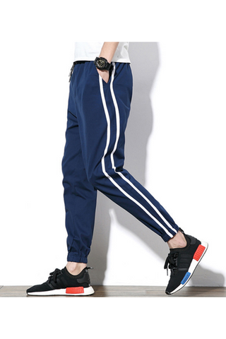 Striped Casual Harem Pants In Navy