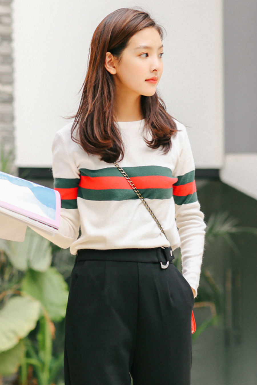 Striped Knit Sweater White