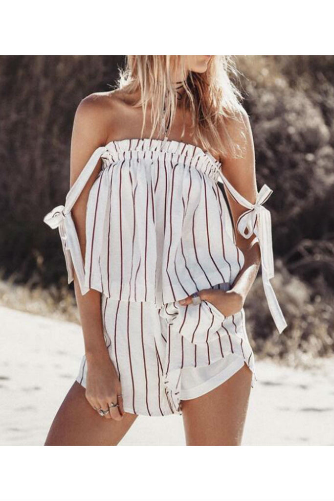 Vertical Stripe Off The Shoulder Romper