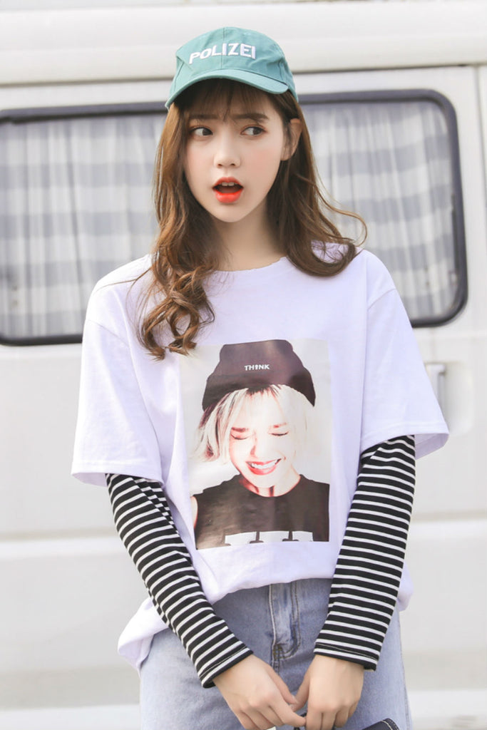 Graphic Stripe Long Sleeve T-shirt