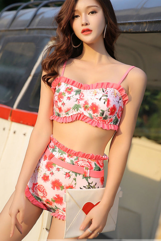 Sweet Floral Tow Pieces Swimsuit
