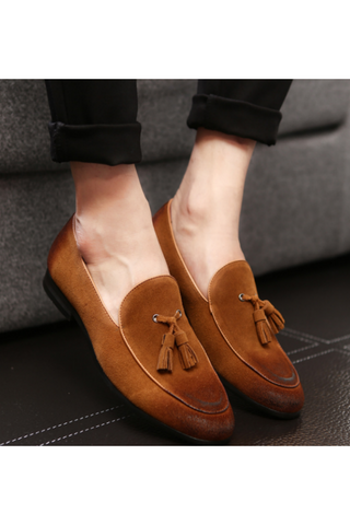 Casual Tassel Suede Loafers In Yellow