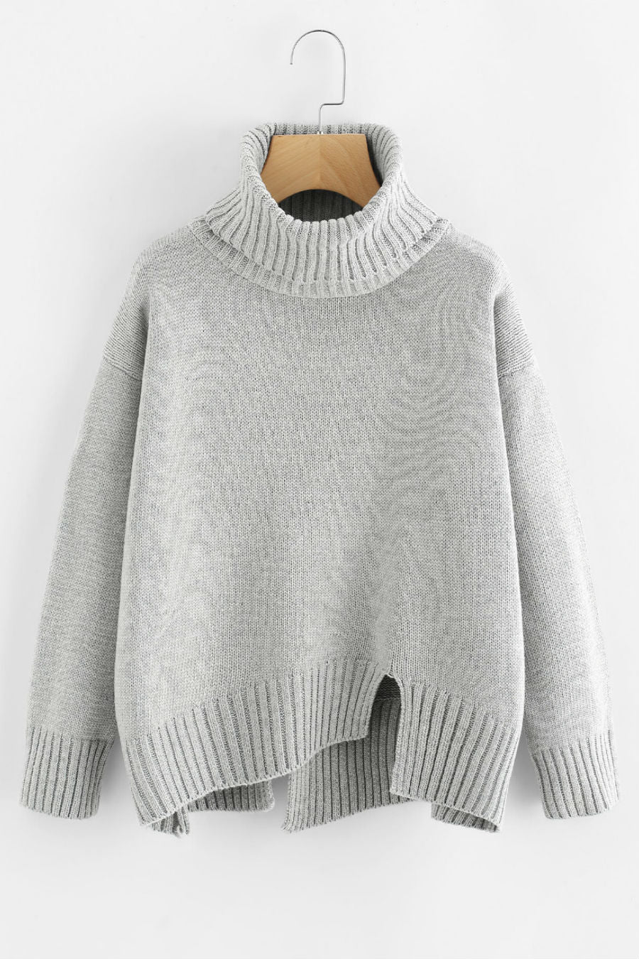 Gray Turtleneck Raw Cut Sweater