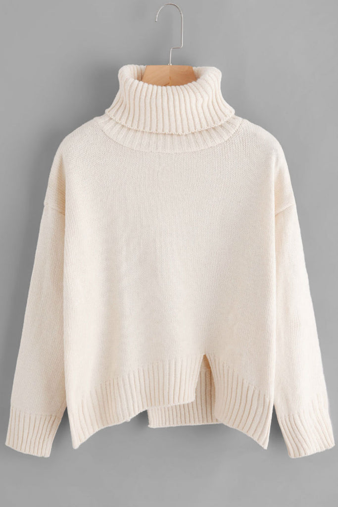 White Turtleneck Raw Cut Sweater