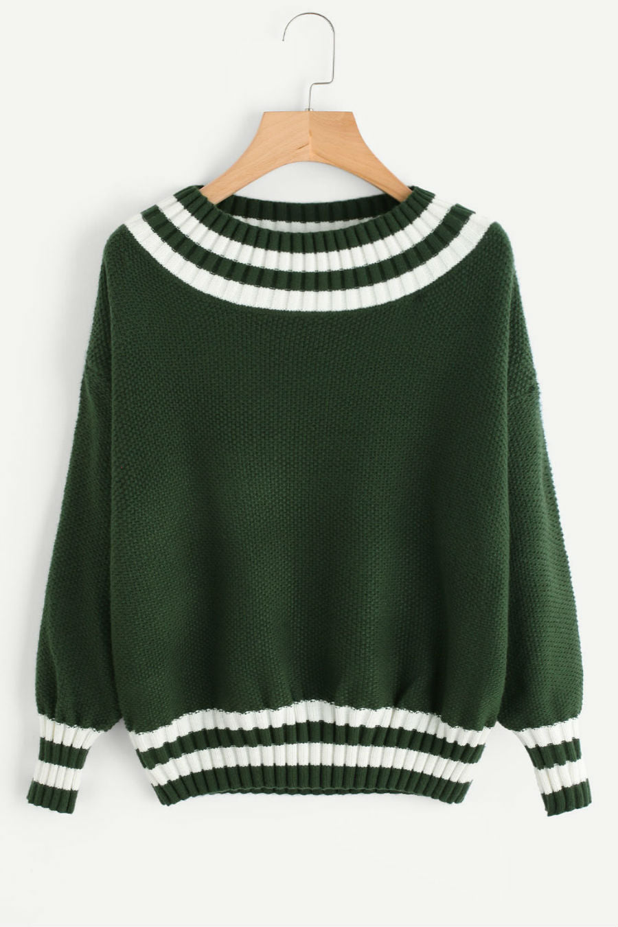O-neck Stripe Green Sweater
