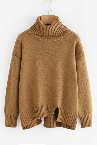 Khaki Turtleneck Raw Cut Sweater