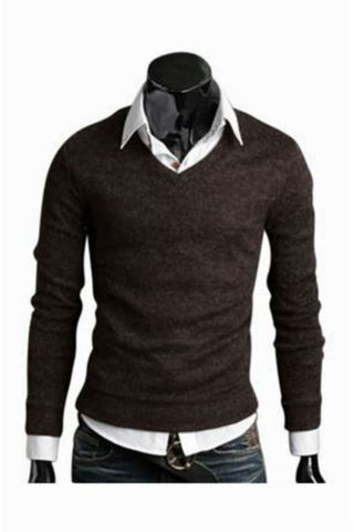 Slim Fit Brown V-Neck Sweater