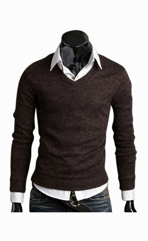 Man Slim Fit Brown V-Neck Sweater