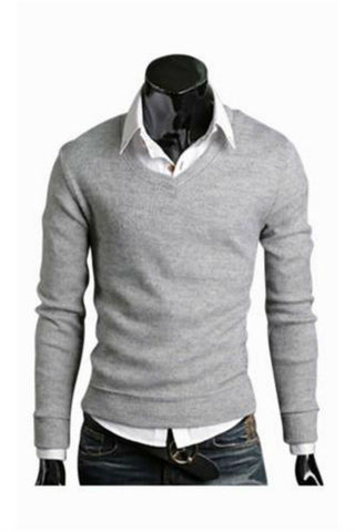 Slim Fit Light Grey V-Neck Sweater
