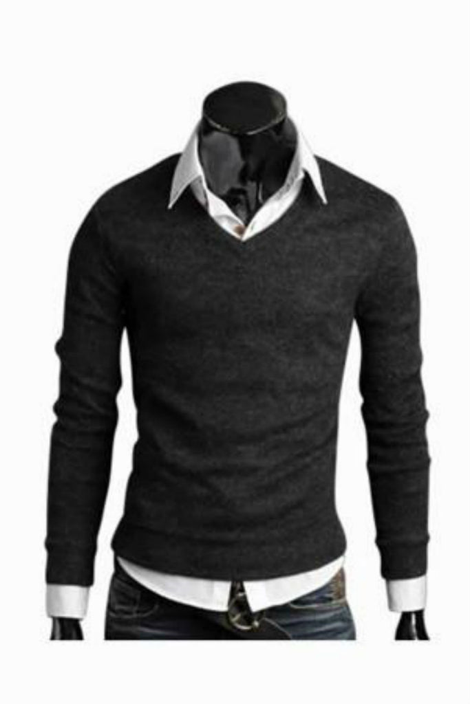 Slim Fit Grey V-Neck Sweater