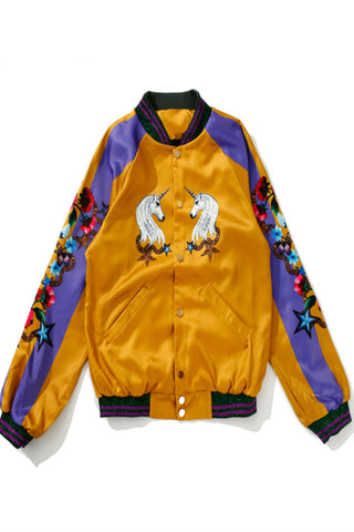 Unicorn Print Baseball Jacket