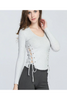 V-neck Lace Up Knitted Top