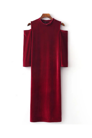 Velvet Cold Shoulder Midi Dress In Red