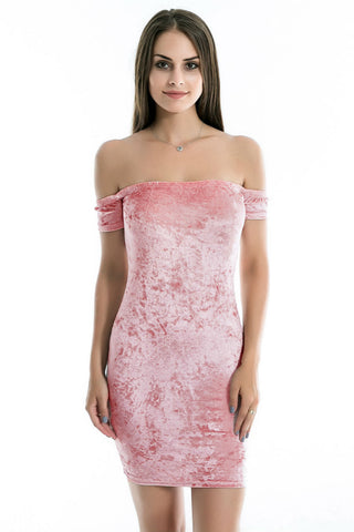 Pink Off Shoulder Velvet Dress